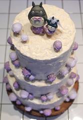 Totoro Wedding Cake (PatchworkPottery) Tags: wedding cake sponge totoro meringue mushrooms purple swiss buttercream stacked baking coconut