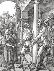 Phillip Medhurst presents John's Gospel: Bowyer Bible print 5575 Jesus is scourged John 19:1 Durer (Phillip Medhurst) Tags: john johnsgospel gospelaccordingtojohn gospel jesus christ jesuschrist bowyerbible bible bibleillustration
