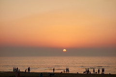 Enjoy the Sunset (chuanet) Tags: sonydscrx100 beach boat katwijk landscape netherlands people sand sea summer sun sunset water zuidholland