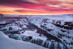 Gullfoss (Mark McLeod 80) Tags: 2016 iceland markmcleod markmcleodphotography snow mountains gulfoss waterfall sunrise ice winter