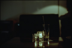Waiting for You. (MichelleSimonJadaJana) Tags: portrait glass japan analog 35mm 50mm tokyo glasses nikon candle drink scanner documentary lifestyle snaps  epson  nikkor fm3a ais flatbed f12 vuescan v750 gtx970