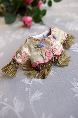 For Annie  Russian Senteurs  (kikihalb) Tags: floral set scarf beads outfit clothing ribbons doll dress russia handmade sewing border silk inspired fringe jacket blythe gown handkerchief brocade embroideries hanky lampas chothes