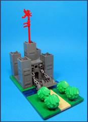 Castle St. Geoege (Karf Oohlu) Tags: castle lego drawbridge moat vignette moc microscale
