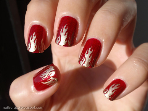 China Glaze Ruby Pumps and Golden Flames