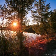 A Cold Morning Sun (c. Melon Images) Tags: blue sky sun reflection sunrise landscape dawn warm beam flare sunburst starburst