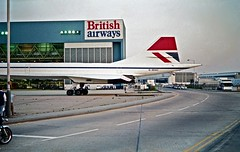 BOAC To BA HR Scan (Deepgreen2009) Tags: road london crossing heathrow hangar maintenance concorde british airways registration taxiing