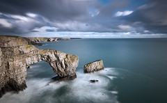 sir penfro (Scott Howse) Tags: ocean uk longexposure sea sky cloud water rain wales coast nikon rocks arch wind tide lee filters pembrokeshire nd110 09h d800e