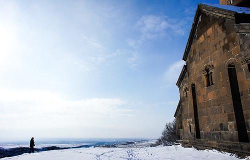 At 13th century Saghmosavank monastery