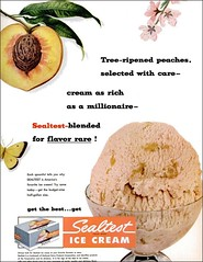 1952 peach ice cream seal test (1950sUnlimited) Tags: food design desserts icecream 1950s packaging snacks 1960s dairy midcentury snackfood sealtest