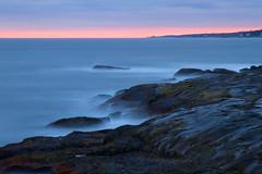 Evening Sea - in explore, front page (SunnyDazzled) Tags: ocean york longexposure pink blue sunset sea sky seascape beach colors landscape coast horizon maine atlantic coastal shore marculescueugendreamsoflightportal