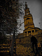 All Saints Church. Newcastle Upon Tyne. . . (CWhatPhotos) Tags: photograph with picture pictures photo photos image images foto fotos that have which contain olympus epl1 1442mm cwhatphotos newcaslte upon tyne city centre yellow color colour light shadow allsaintschurch pilgrim street church building dark lookingup looking up person newcastle north east england flickr