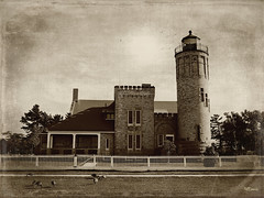 Mackinac Point Light (MEaves) Tags: lighthouse michigan structure toned textured mackinac k10d pentaxk10d lighthousetrek pentaxart bestevercompetitiongroup