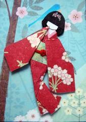ATC1117 - Going downhill (tengds) Tags: flowers blue atc maroon geisha kimono obi papercraft japanesepaper washi ningyo handmadecard chiyogami yuzenwashi japanesepaperdoll origamidoll tengds reusedcard japaneselinenlikepaper