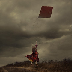 to leave or be left behind (brookeshaden) Tags: kite storm childhood clouds fly flying wind fineartphotography lifting conceptualphotography brookeshaden