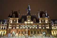 Hotel de Ville, Paris - Paris City Hall illuminated at night (Sir Francis Canker Photography ) Tags: plaza city travel panorama paris france art tourism architecture night square landscape arquitectura frankreich europa europe artist cityscape photographer place hoteldeville artistic dusk cityhall landmark visit icon tourist illuminated townhall column visiting francia stadhuis citta ayuntamiento touristic parigi bastilla columna ajuntament comune sirfranciscanker