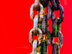 Lust for Rust (ShrubMonkey (Julian Heritage)) Tags: red abstract color colour detail boat rust bright olympus chain nautical hull links corrosion 45mm bold corroded ep3 corrode