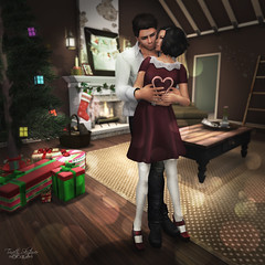 """Sweetest"" With Love Hunt - from oOo Studio (Trinetty Skytower) Tags: christmas digital pose photography holding couple holidays sweet avatar sl together secondlife virtual merry candycane hunt withlove ooostudio"