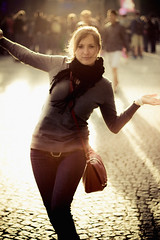 Candice in the light (Sphaax) Tags: street light people urban sun paris girl oneaday crowd candice pictureaday