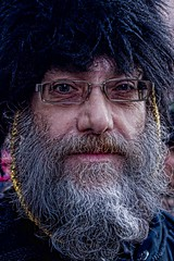 7D0051 (Grunged) Man with beard & Glasses wearing a Busby - Whitby Goth Weekend 3rd Nov 2012 (gemini2546) Tags: nov grunge goth week 3rd 2470 man canon sigma beard 7d lens hat jacket whitby 2012 victorian millitary glasses specticals greying busby hussars