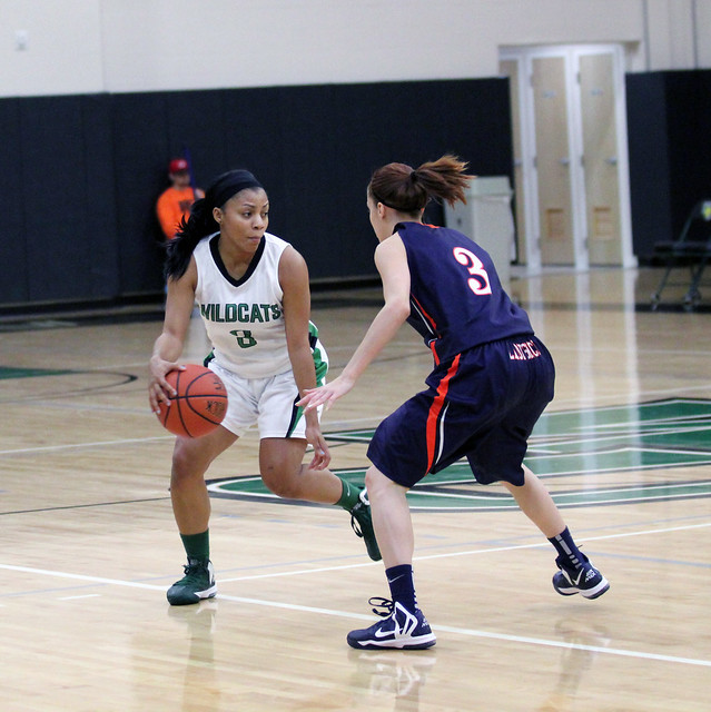 Junior Lauren Brown hit two big three-pointers, scoring eight points against Washington Adventist on Thursday night. Photo by Liz Case