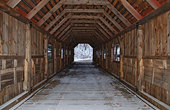 Joshua's Crossing Covered Bridge (Bronica John) Tags: county bridge winter lake snow lines nikon crossing michigan line covered ann coveredbridge symmetric symmetrical leading hdr lakeann joshuas leadinglines benzie benziecounty lakeannmichigan d7000 hdrtist herendeene herendeenelake joshuascrossing joshuascrossingcoveredbridge