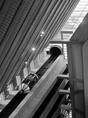 tomorrow is far away (Demetrios Lyras) Tags: bw sunlight building architecture lights blackwhite shadows elevators financial hyattregency disrtict sanfranciscocausa tomorrowisfaraway