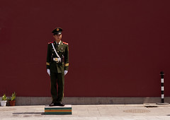 Police Guard At Forbidden City, Beijing, China (Eric Lafforgue) Tags: china city travel red people color colour history monument horizontal architecture composition standing outside person photography gate uniform asia day image outdoor authority guard beijing police bluesky nobody unesco communism copyspace forbiddencity tiananmensquare majestic adultsonly oneperson policeman buildingfront worldheritage onepeople frontview eastasia policeofficer pekin menonly capitalcity realpeople militaryuniform colorimage diminishingperspective famousplace honourguard lookingatcamera buildingfeature northeastchina buildingexterior fulllenght colorpicture chinesescript internationallandmark adultonly 1people imagetype hebeiprovince beijingprovince builtstructure mg0423 traditionallychinese