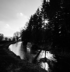 The motionless canal (joshuajkp) Tags: trees winter blackandwhite sun ice water canon landscape eos boat canal inn shadows highlights valley stokeontrent staffordshire 2012 cheddleton 550d churnet joshuaplattphotography