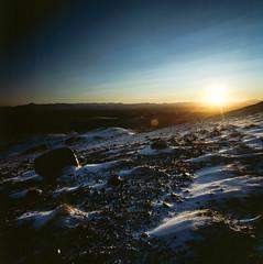 Snow, Land, Sky (wookeeh) Tags: sunset 120 6x6 film analog mediumformat square landscape iso100 iceland sundown kodak slide hasselblad lee 2012 week50 swcm ektachrome100g mittelformat leefilters weekofdecember9 522012 52weeksthe2012edition