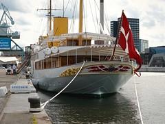 KONGESKIBET DANNEBROG  -  (Her Danish Majesty's Yacht 'Dannebrog') (LARSERAQ) Tags: dannebrog kongeskibet dronning margrethe ii sony rx1rm2 rx1rmk2 rx1rmii rx1rmkii carl zeiss sonnar 235 full frame cmos image sensor larseraq aarhus jutland denmark harbor clouds sea royal yacht seamen regentparret de kongelige tovvrk ropes
