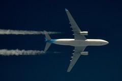 Corsair Airbus 330 F-HCAT (stephenjones6) Tags: jet airliner civil outdoor blue sky contrail vapour vapourtrail airbus 330 a330 corsair fhcat nikon d3200 skywatcher