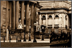 Liverpool's Cultural Quarter (* RICHARD M (Over 5 million views)) Tags: walkerartgallery countysessionshouse williambrownstreet architecture statues lampposts streetlamps streetlights street columns pillars windows steps stonesteps railings streetfurniture mono sepia liverpool merseyside unescoworldheritagesite unescomaritimemercantilecity europeancapitalofculture capitalofculture listedbuildings victorianarchitecture victoriana balustrades stonebalustrades oldbuildings heritage historicbuildings england uk unitedkingdom gb greatbritain britain british maritimemercantilecity unescocityofmusic historicliverpoolbuildings liverpoollandmarks bollards globes lamps worldheritagesites arches compression telescopiccompression sculptures