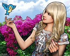 Bluebird (electrofreeze) Tags: evan hayden art illustrated photography illustration photoillustration wacom tablet raven lefaye bluebird princess