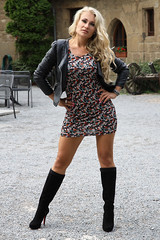 Anna 13 (The Booted Cat) Tags: sexy blonde girl model minidress legs heels highheels boots leather jacket