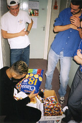 Christmas (Gary Kinsman) Tags: hampsteadstudentcampus hampstead childshill nw3 kidderporeavenue london 2001 film kingscollegelondon kcl hallsofresidence studentcampus students university fun youth young candid unposed hallway flash