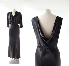 1930s black charmeuse satin dress with plunging back neckline and jacket (Small Earth Vintage) Tags: smallearthvintage vintagefashion vintageclothing 1930s 30s jacket dress gown blacksatin charmeusesatin