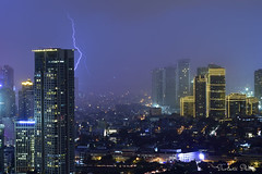 Lightning display (Sumarie Slabber) Tags: city manila sumarieslabber lightning lights bolt buildings nikond750 makaticity weather