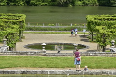 Le jardin devant la Meuse (Flikkersteph -4,000,000 views ,thank you!) Tags: springtime garden waterpool fountain tranquillity landscape nature footpaths reflecting wonderful hills slopes cloudy shadow trees foliage castle hastire wallonia belgium