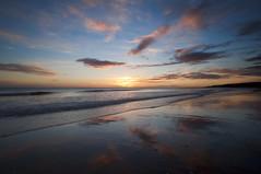 Dawn reflection. (Elidor.) Tags: sea sun reflection beach clouds sunrise dawn coast northumberland northeast spittal