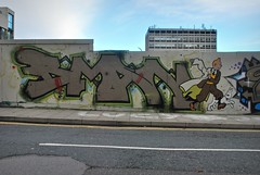 BMAN (Di's Free Range Fotos) Tags: new uk england graffiti brighton snowy quarter characters tintin herge bman