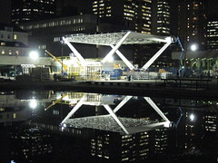 Nathan Phillips Square Revitalization the Stage at Toronto's City Hall November 13 2012 (Meteor54) Tags: toronto reflection skyline night lights construction stage baystreet newcityhall nathanphillipssquarerevitalization