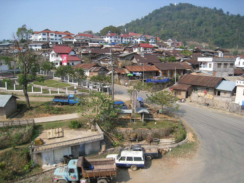 The main drag through town, Phongsali, Laos