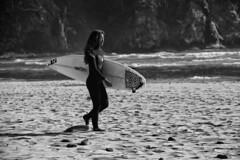 5835.Roxy Suit B&W (eyepiphany) Tags: dog beach surf logpile smugglerscove oregonbeaches shortsandsbeach windswepthair betweensets womansurfer