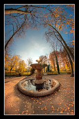 Fontaine en automne (LaurentBrancaleoni) Tags: autumn trees sky orange sun france backlight jaune automne bluesky strasbourg ciel arbres alsace fontaine solei contrejour foutain d800 aguila orangerie cielbleu basrhin feuillesmortes