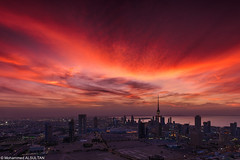 Burns Beauty (mr.alsultan) Tags: city sunset red sky orange hot tower love colors clouds twilight burn kuwait kuwaitcity skyburn libirationtower altijaria