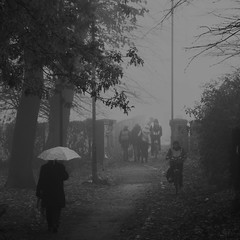 Quintessentially English: Spencer Park Earlsdon Coventry West Midlands UK (Kangaroobie......catching up) Tags: uk autumn bw english fog umbrella coventry westmidlands quint earlsdon spencerpark