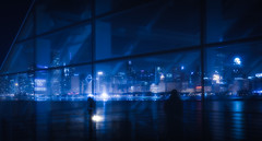 blue chicago reflection silhouette skyline shadows lakemichigan marchofdimes adlerplanetarium clearnight midnightpreset nikcolorefexpro4 bladerunneredit
