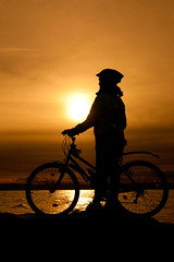 Sunset Cyclist (juliereynoldsphotography) Tags: sunset sea silhouette cyclist redrock wirral westkirkby juliereynolds