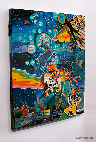 LARRY CARLSON Sagittarius Serenade  collage and flashe paint on wooden board, 16 x 20in., 2012.