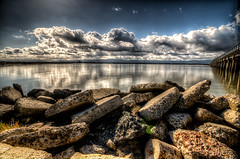 Land Sea Air (eCHstigma) Tags: nikon d600 tokina ultrawide landscape seascape clouds storm pier dumbarton bay hdr fremont california 1735mmf4